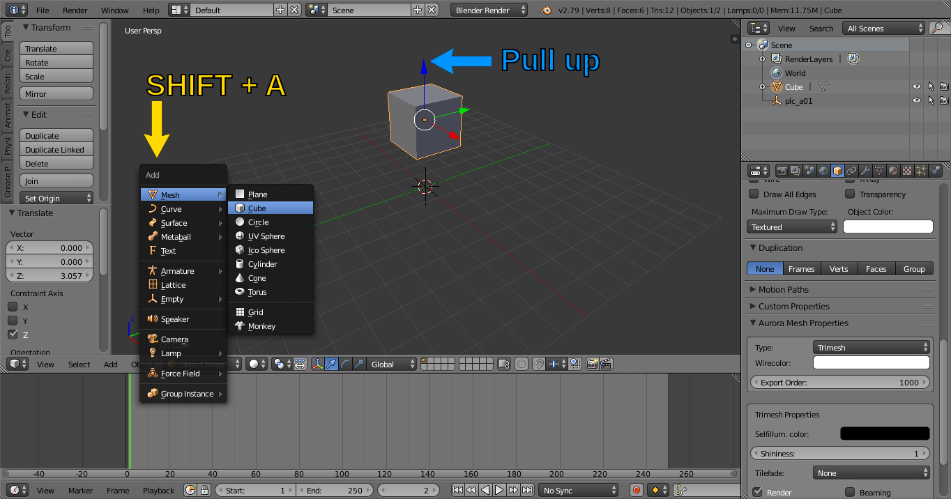 NeverBlender 101: Part 2 - Creating a simple Placeable